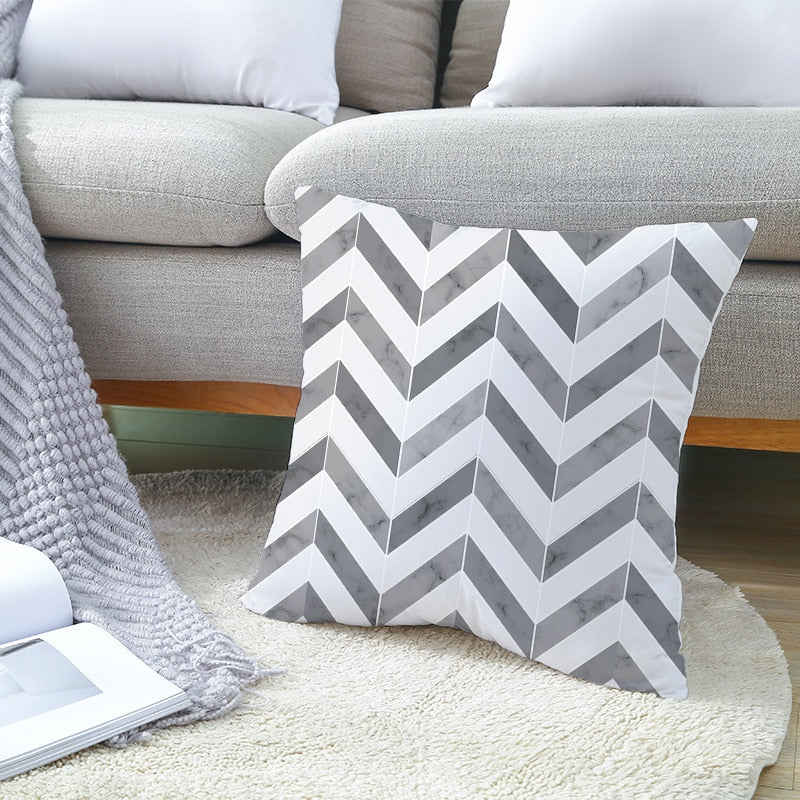 Geometric Striped Dotted Grid Triangular Art Cushion Cover