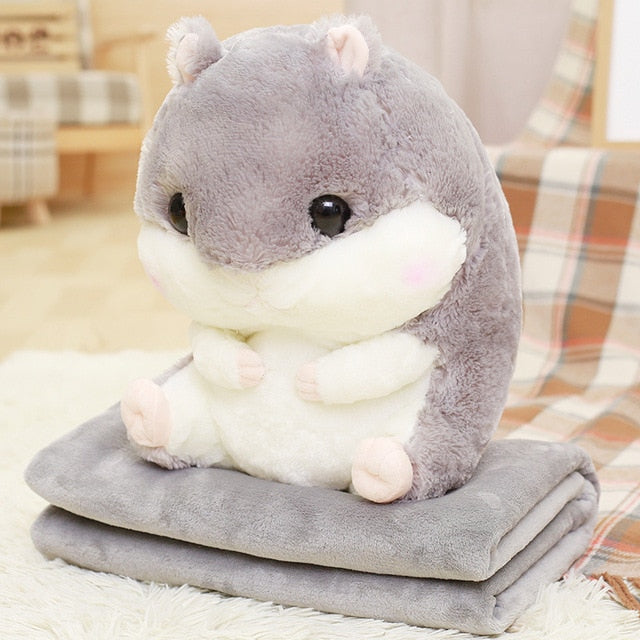 Cartoon Hamster Cushion Blanket