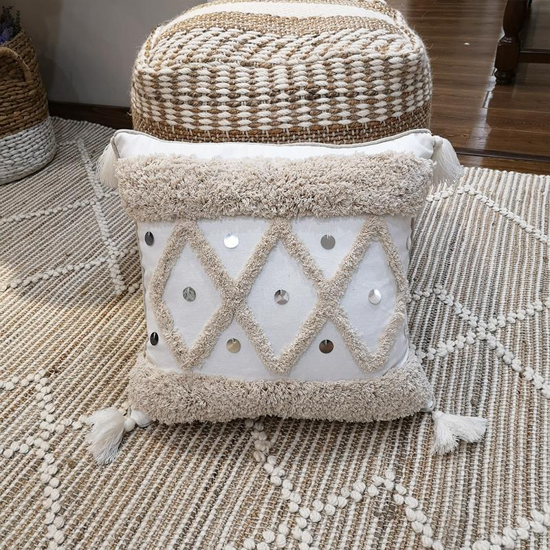 Geometric Embroidery Pillow Cover with Sequin  and Tassels