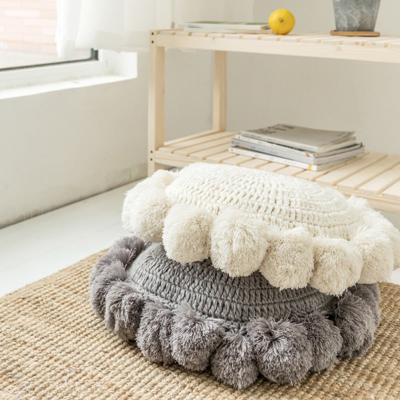 Round Knitted Round Cushion Beige Home Decor Sofa Pillow