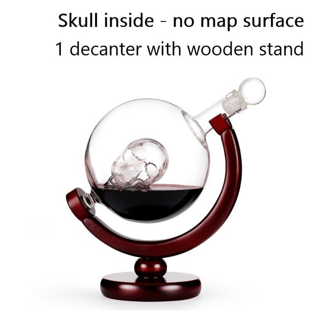 Whiskey Decanter Globe Wine Glass Set