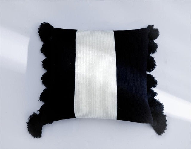 Cute Pompoms Decorative Pillowcase Stripe Pure Nature Cotton