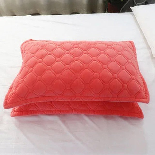 2pcs Crystal Velvet Pillowcase Solid Color