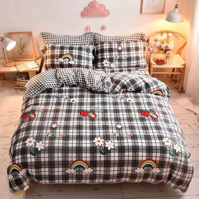 Cute Cartoon Strawberry Print Pillowcase Winter Milk Velvet