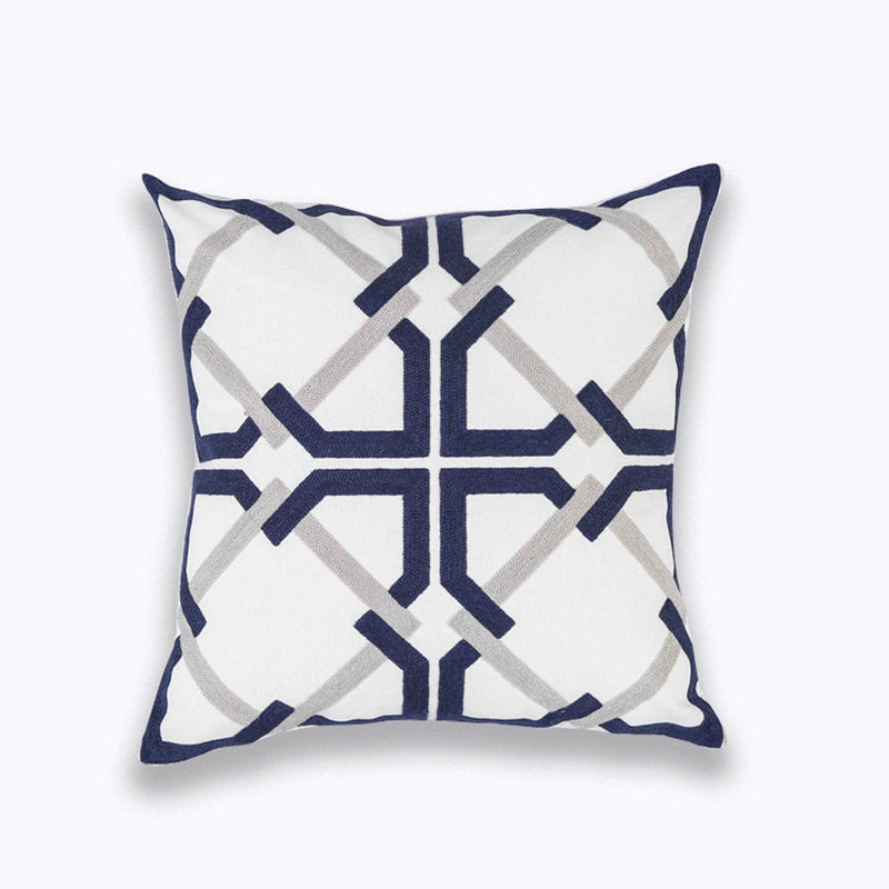 Emboridered Cushion Cover Blue Zigzag Geometric Pillow Case