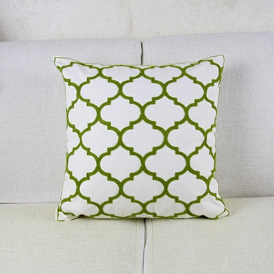 Green Embroidery Geometric Moroccan Pillow Case