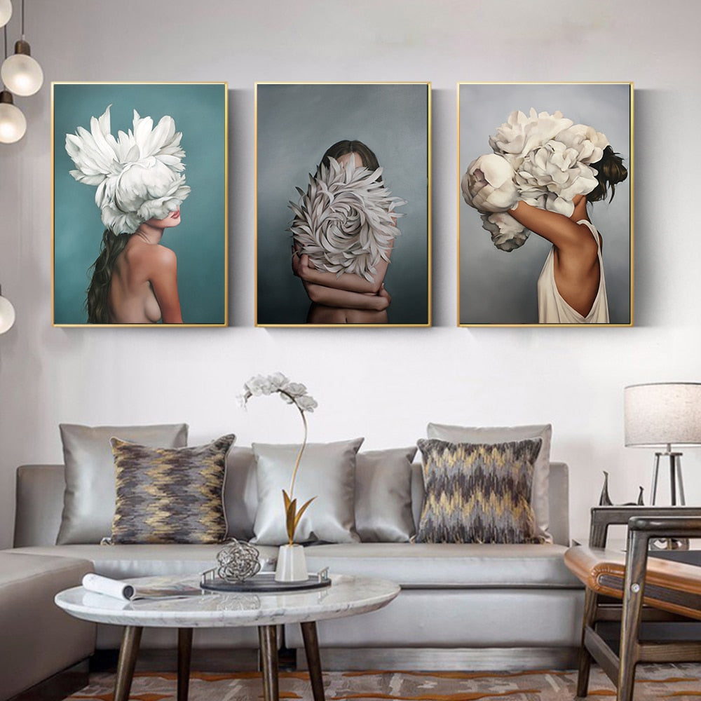 High Quality Canvas Flowers Feather Women Canvas Oil Painting