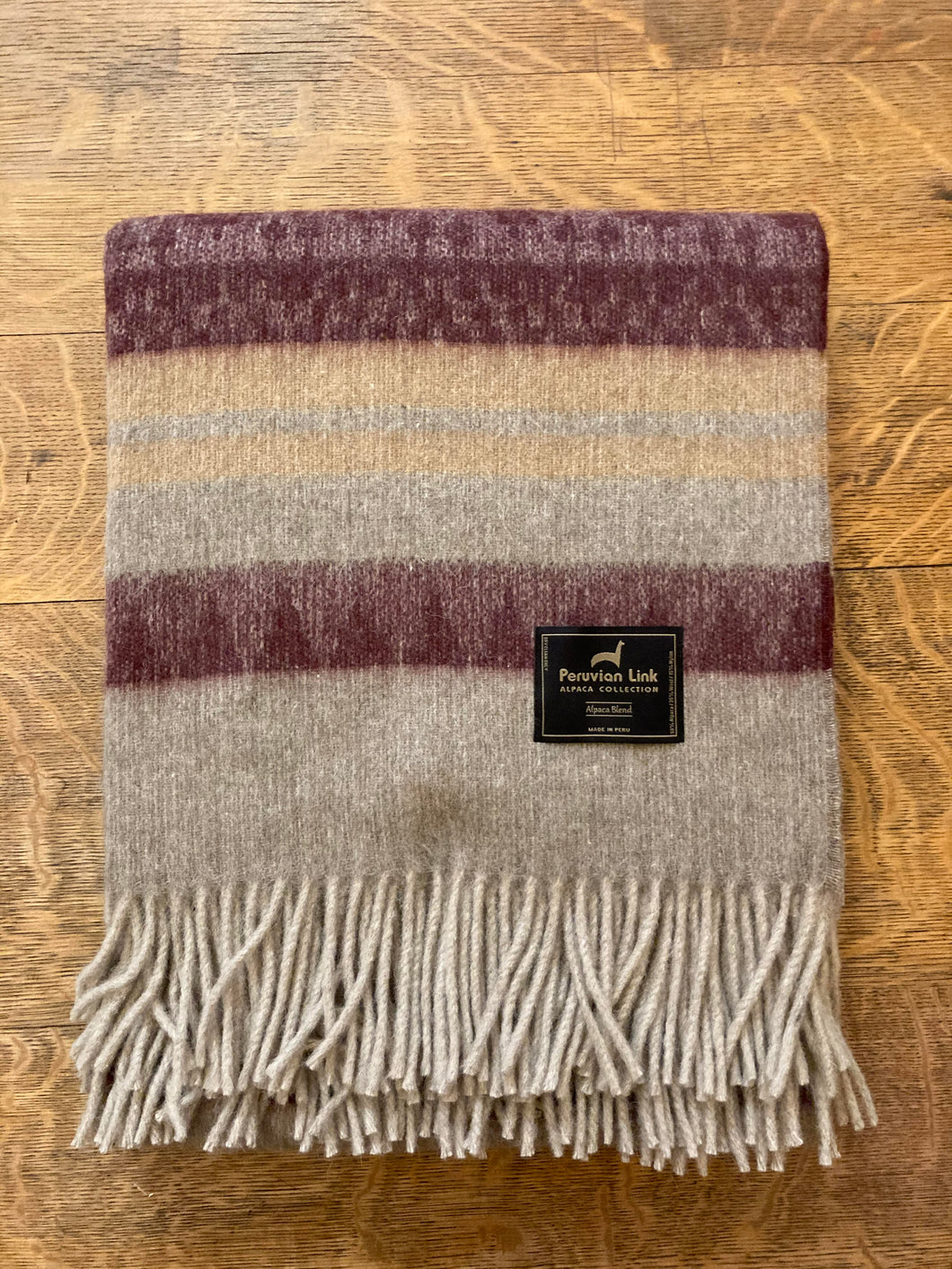 Cherokee Alpaca Throw (Burgundy/Tan)