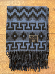 Geometric Alpaca Throw (Blue/Black)