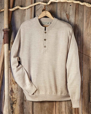 Men's Button Alpaca Crewneck