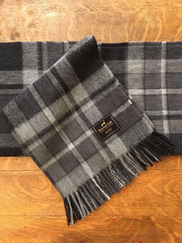 Plaid Alpaca Throw (Black)
