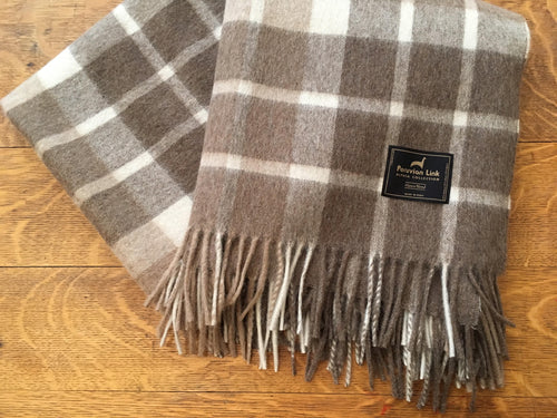 Plaid Alpaca Throw (Tan)