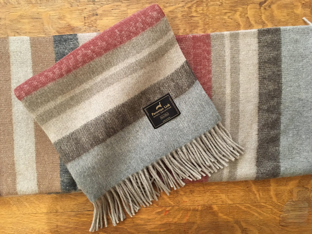 Cherokee Alpaca Throw (Red/Tan)