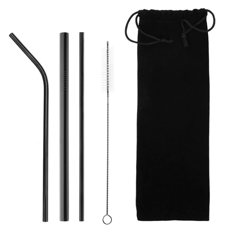 Reusable Steel Straw Set with Bag (6 colors)