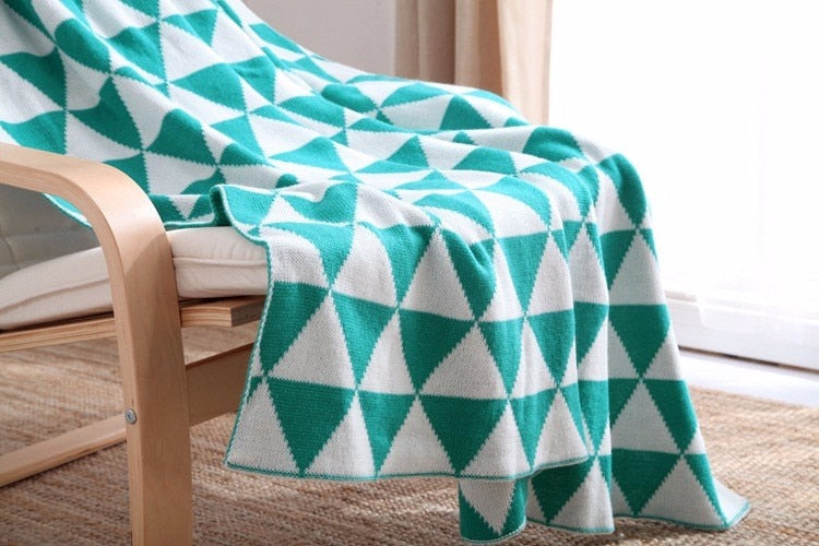 Teal Geometric Soft Throw Blanket