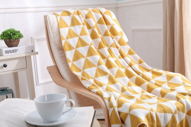 Yellow Geometric Soft Throw Blanket