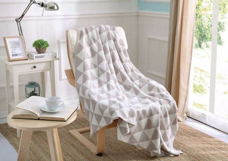 Khaki Geometric Soft Throw Blanket