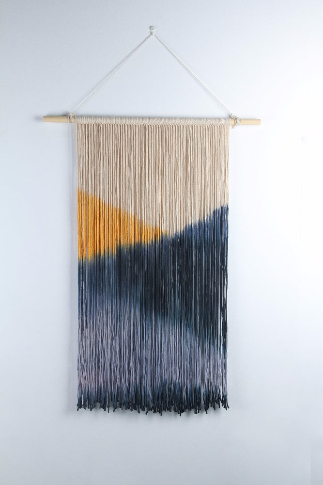 Handmade Geometric Blue And Yellow Tapestry