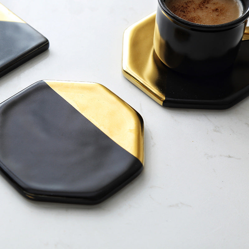 Black and Gold Ceramic Coaster