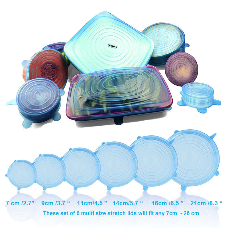 Set of 6 BPA-Free Reusable Silicone Lids