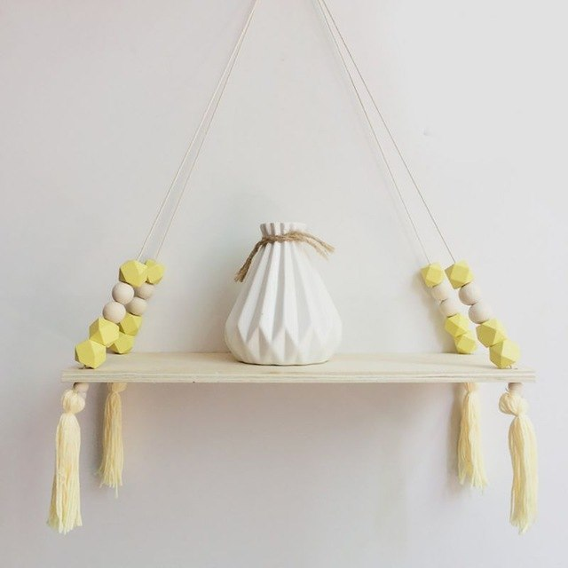 Hanging Wooden Shelf With Tassels and Colorful Beads