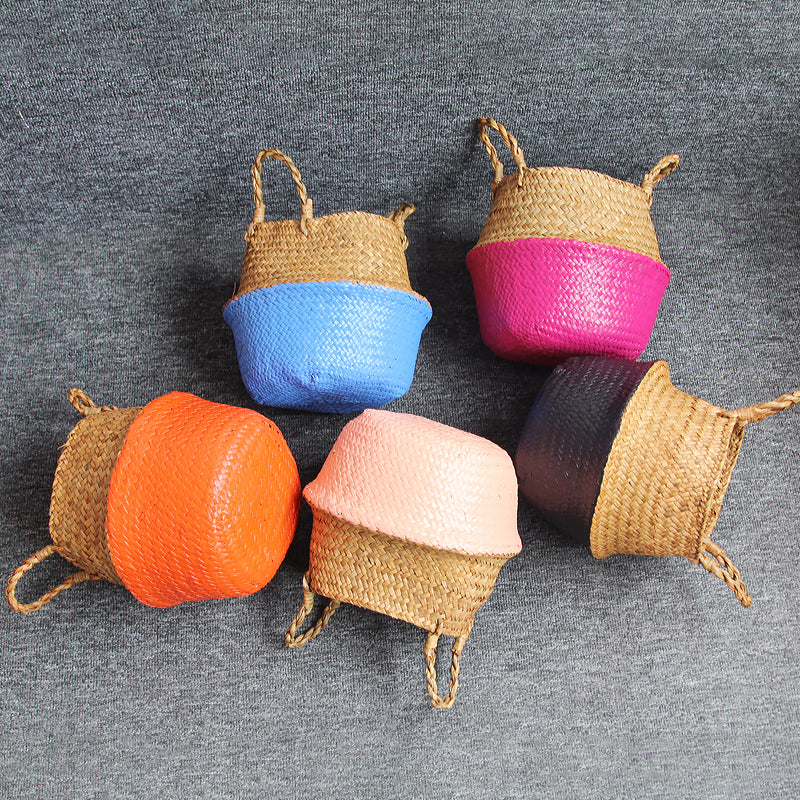 Small Handmade Straw Baskets