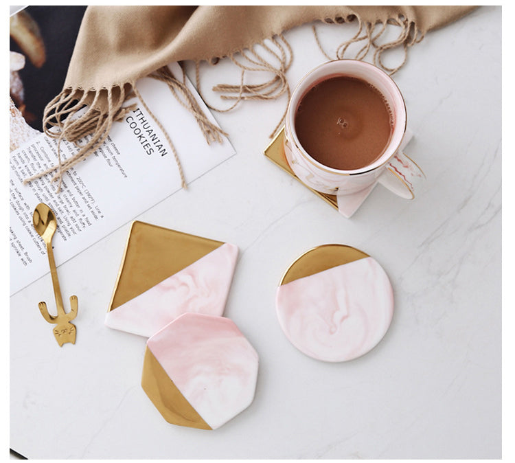 Pink and Gold Marble Ceramic Coaster