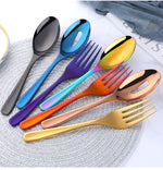 3pc Metallic Serving Fork And Spoon Set (8 Colors)