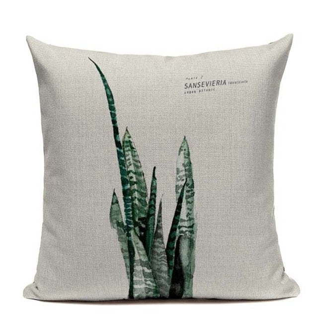Sansevieria Boho Throw Pillow Cover