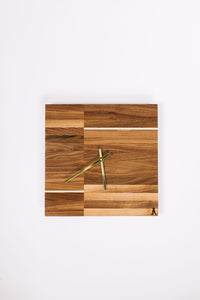 Walnut Split Square Clock