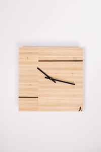 Maple Split Square Clock