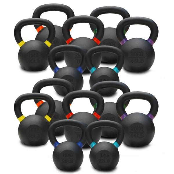 10KG TO 32KG PREMIUM POWDER COATED KETTLEBELLS DOUBLE PACK