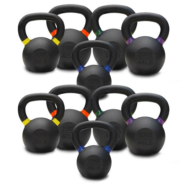 12KG TO 28KG PREMIUM POWDER COATED KETTLEBELLS DOUBLE PACK