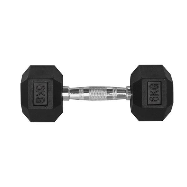 6KG HEX RUBBER COATED DUMBBELL - TITANIUM USA™