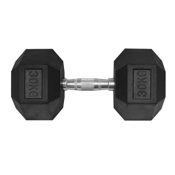 30KG HEX RUBBER COATED DUMBBELL - TITANIUM USA™