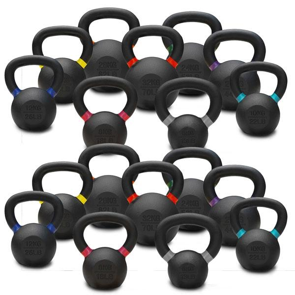 6KG TO 32KG PREMIUM POWDER COATED KETTLEBELLS DOUBLE PACK
