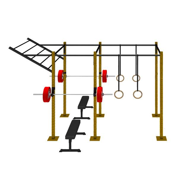 FREE STANDING RIG WITH 2 CELLS WITH 1 FLYING PULL UP BAR FS-2C1FPUB