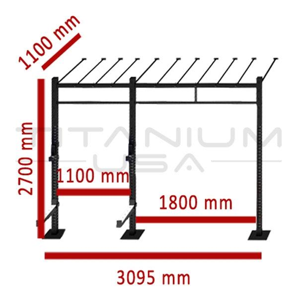TITANIUM USA 2 CELL WALL MOUNTED MONKEY BAR RIG WM-2CMBR