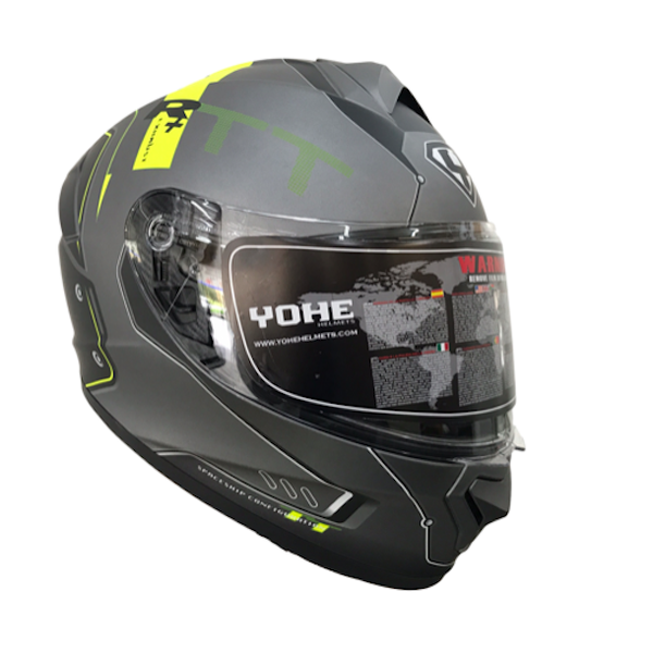 YOHE 977 8# Matt Grey/Yellow Helmet-MADMACSMOTORCYCLES-MADMACSMOTORCYCLES
