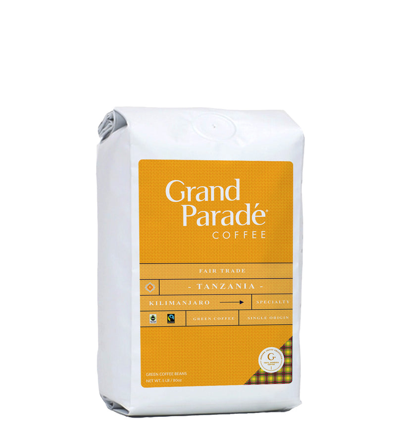 Grand Parade Tanzania AA Mount Kilimanjaro Green Unroasted Coffee Beans Fair Trade Arabica Single Origin African Peaberry bulk wholesale raw home roaster sampler variety 2 3 5 10 lbs roasting light medium dark roast. Shop online 1 lb, 2, 3 or bulk wholesale 5, 10, 25 lbs. Bright like Kenya AA whole bean coffee.