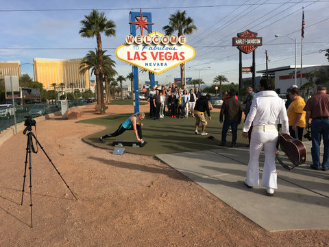 Elvis and Jenny Ford at Vegas filming step and marching workouts