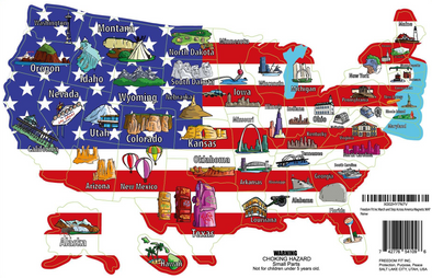Magnetic Fridge Map of 50 States Track Your Progress
