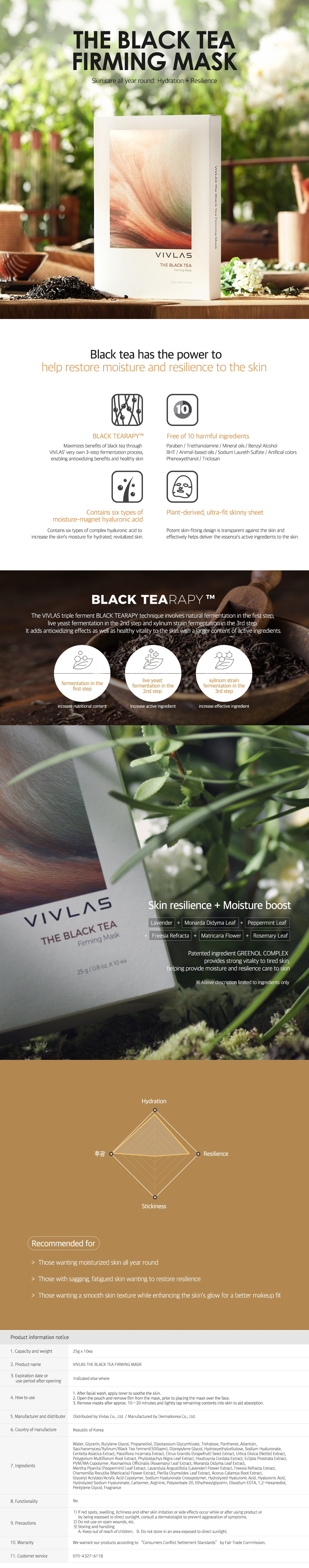 Vivlas The Black Tea Firming Mask