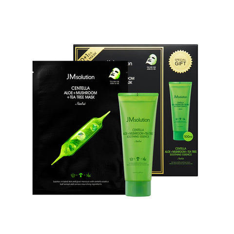 JM Solution Centella Aloe+Mushroom+Tee Tree Mask Nutri 10+1 Sheets (1 Box) + Soothing Essence 100ml