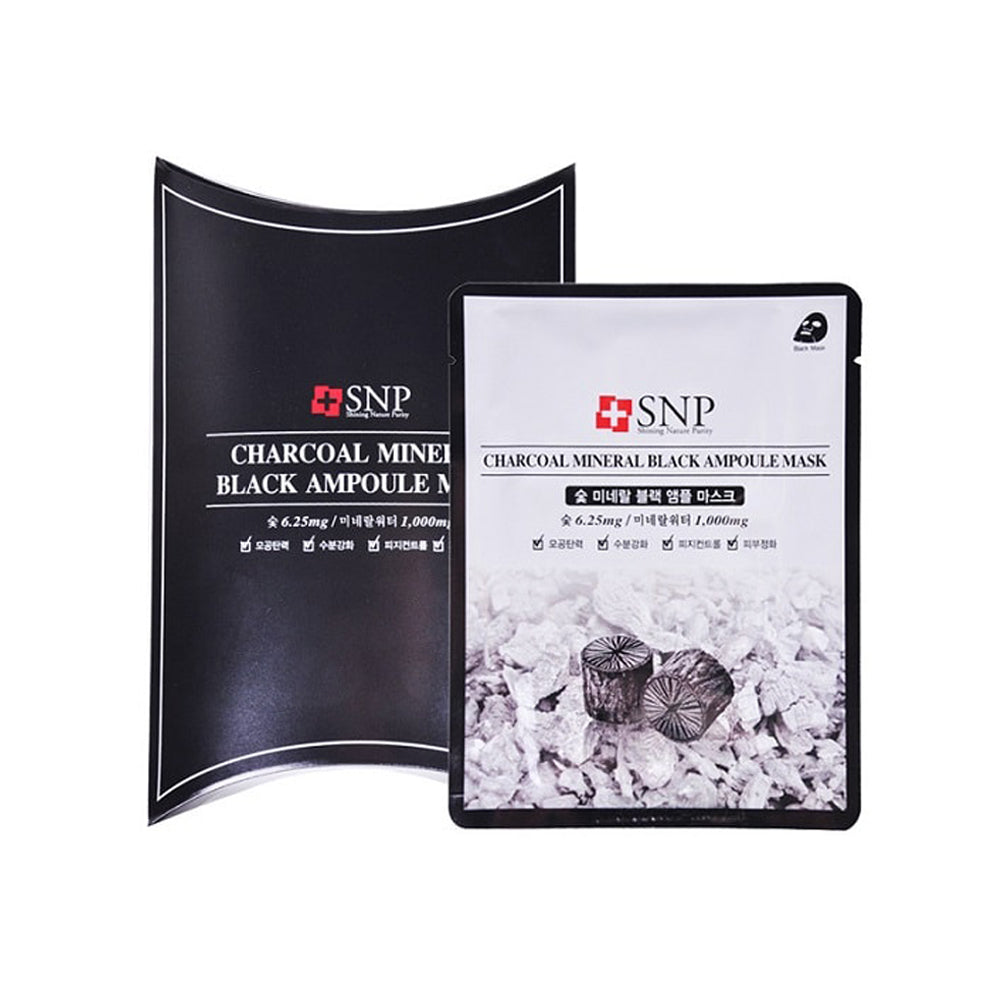 SNP Charcoal Mineral Black Ampoule Purifying Facial Mask