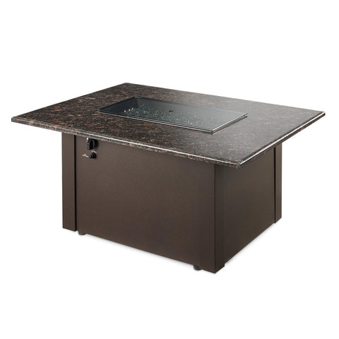 Image of The Outdoor GreatRoom Company Grandstone 48-Inch Rectangular Propane Gas Fire Pit Table - British Brown - GS-1224-BRN-K - Fire Pit Table - The Outdoor GreatRoom Company - ElectricFireplacesPlus.com