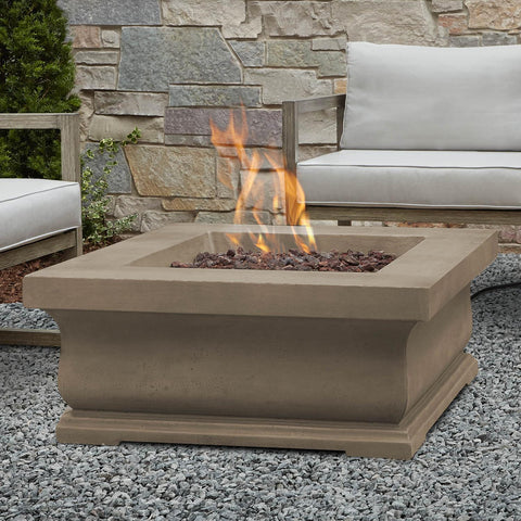 Real Flame Treviso 34-Inch Square Propane Fire Pit - Dove Gray - Fire Pit - Real Flame - ElectricFireplacesPlus.com