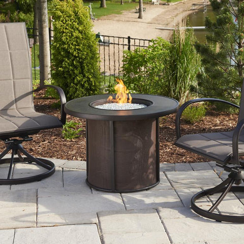 The Outdoor GreatRoom Company Stonefire 31-Inch Round Propane Gas Fire Pit Table - Brown - SF-32-K - Fire Pit Table - The Outdoor GreatRoom Company - ElectricFireplacesPlus.com