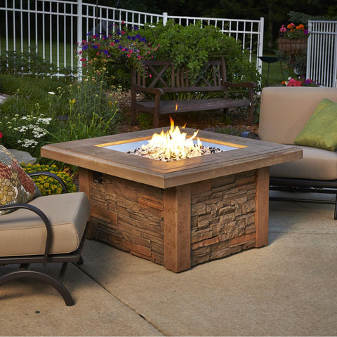 Image of The Outdoor GreatRoom Company Sierra 43-Inch Square Natural Gas Fire Pit Table - Mocha - SIERRA-2424-M-K-NG - Fire Pit Table - The Outdoor GreatRoom Company - ElectricFireplacesPlus.com