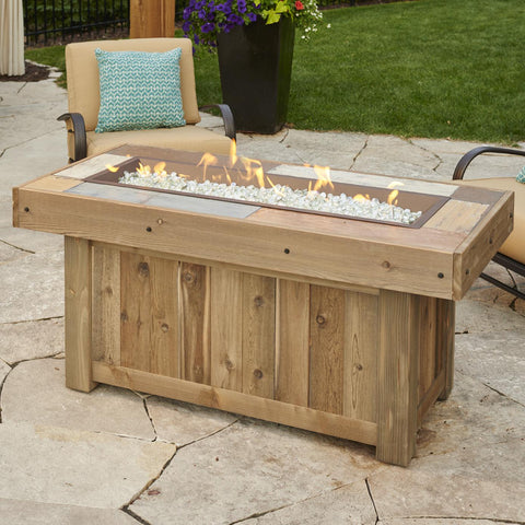 The Outdoor GreatRoom Company Vintage 54-Inch Linear Propane Gas Fire Pit Table - Brown - VNG-1242BRN - Fire Pit Table - The Outdoor GreatRoom Company - ElectricFireplacesPlus.com